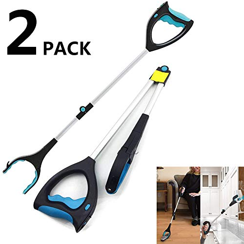GHzzY 2 Pack Grabber Reacher Tool - Aluminium Handy Picker Up Tool met Lange Arm Klauw & Lamp - Litter Pickup Tool voor Rolstoel & Gehandicapten