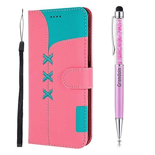 Grandoin für Honor 8X Hülle, Handyhülle im Brieftasche-Stil, [Gestickt] Handytasche PU Leder Flip Cover Bunte Muster Book Case Schutzhülle für Huawei Honor 8X (Rosa)