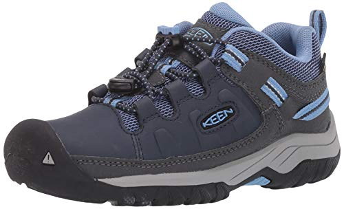 KEEN Big Kid's Targhee Low Height Waterproof Hiking Shoe, Blue Nights/Della Blue, 3 BK (Big Kid) US