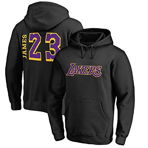 Herren Kapuzenpullover NBA Lakers #23 James Loose Pullover Top Sweatshirts mit Kängurutaschen Tops Gr. Small, Style2-black