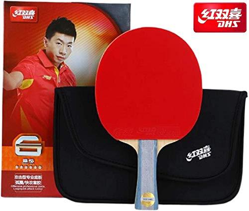 DHS 6-Star Tischtennisschläger Ping Pong Paddle 6002 (Langer Griff) Doppelnoppen Schläger Shake-Hand-Griff