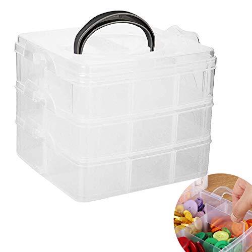 Caja de almacenaje transparente con asa, caja de almacenamiento ajustable, compartimentos de 3 niveles, portátil, para diferentes piezas pequeñas