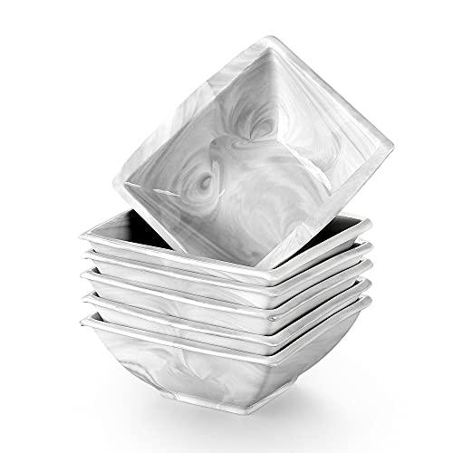 MALACASA, Series Blance, 6 cuencos de 14,5 cm (14,5 x 14,5 x 6 cm), color gris