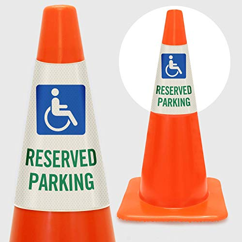 "SmartSign ""Reserved Parking with Handicapped Symbol"" Bright Reflective Cone Message Sleeve, [Cone Not Included]"