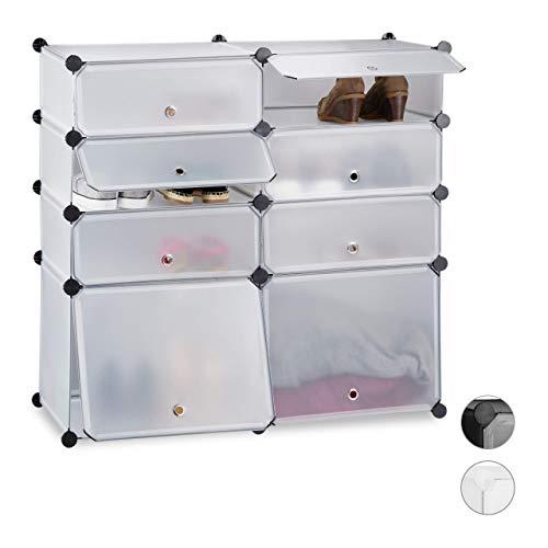 Relaxdays Zapatero Bajo Modular con 8 Compartimentos, 91 X 94.5 X 36.5 Cm