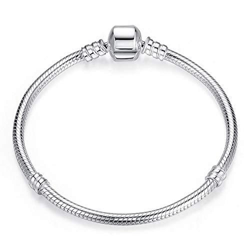 Aituo 18 - 20 cm, braccialetto in argento in stile Pandora, per charm, placcato argento, colore: Silver, cod. PAR103