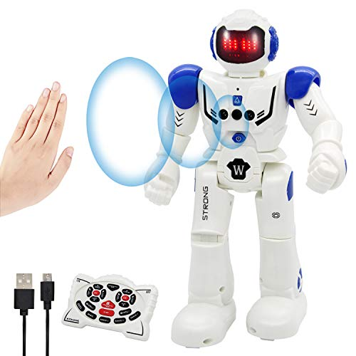 Vindany Giocattolo RC Robot Telecomandato - Robot Giocattolo Programmabile Intelligente Interattivo Controllo Robot Sensazione di Gesti per Bambini (Blu)
