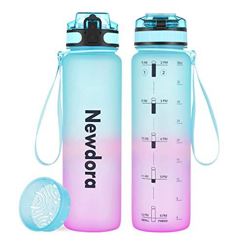 Newdora Botella de Agua Deportiva, 1000ml 650ml, Plástico de Poliéster, Sin BPA, a Prueba de Fugas, Botella Agua Bicicleta, Botella con Filtro, para Viaje, Gimnasio, Correr (1000ml Gradiente)
