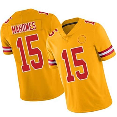 WHUI Mahomes Rugby Jersey 15#, Camiseta de fútbol para Hombres, diseño de Malla, Puede evaporar rápidamente Sudor, tamaño Adulto Yellow-XL