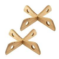 sottopentola staccabile in bambù, set di 2 sottopentola isolata, resistente al calore, supporto di raffreddamento per pentole da 19,7 x 19,7 x 4 cm