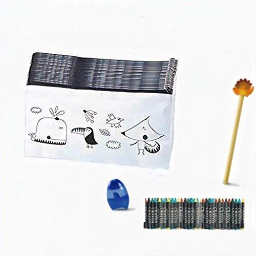 Emotiset Lote de 30 estuches para colorear y 30 packs de ceras,añadimos 1 lápiz con borrador y 1 sacapuntas por Lote.Regalo Original para cumpleaños,fiestas,colegios,comuniones,eventos infantiles