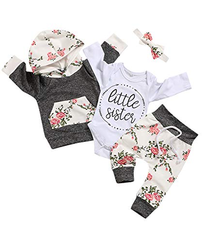 Baby Girls Long Sleeve Flowers Hoodie Tops and Pants Outfit from Oklady