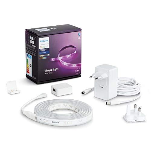 Philips Hue lightstrip Plus Basisset - 2 Meter - Verlengbaar - Duurzame LED Verlichting - Wit en Gekleurd Licht - Dimbaar - Verbind met Bluetooth of Hue Bridge - Werkt met Alexa en Google Home