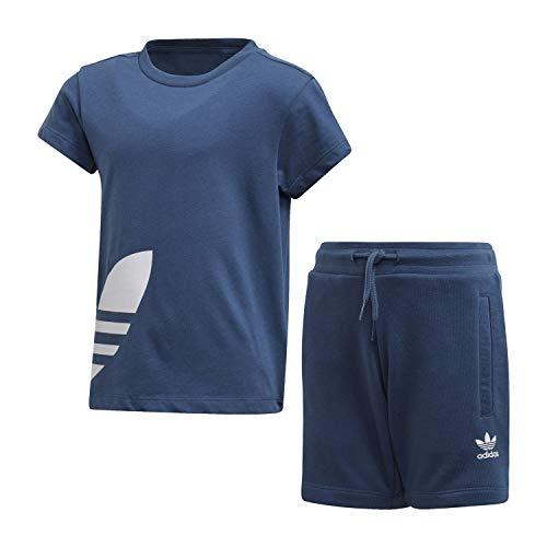 adidas Big Trefoil Shorts Tee Tuta Blu da Bambino FM5619