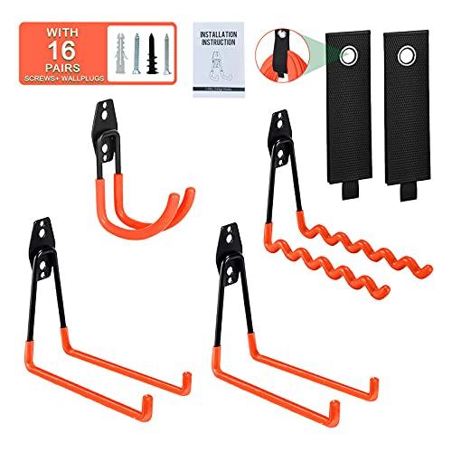 Garage Hooks Heavy Duty, 6 Pack Garage Storage Hooks Rack Steel Tool Hangers for Garage Wall Mount Utility Hooks and Hangers for Garden Tools, Ladders, Bike, Blower, Backpack, Bulky Items, Power Tools