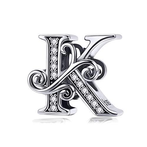 Letter Alphabet Charm 925 Sterling Silver K Charms Word Charm Anniversary Charm for Pandora Charm Bracelet (K)