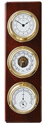 fischer Wetterstation/Wetterwarte mit Tiden-Uhr, Barometer, Hygrometer/Thermometer