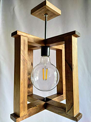 Lámpara de techo de madera reciclada de palet hecha a mano