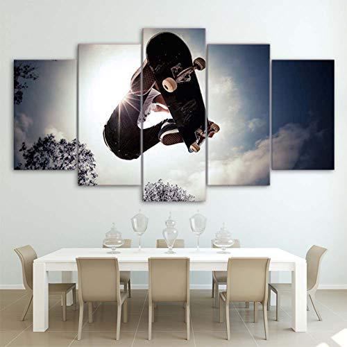 BLKykll Segeltuch Malerei Wohnkultur 5 Stücke Skateboard Bilder Modular HD Gedruckt Sport Poster Wandkunst Rahmen Zum Leben Zimmer 30X40x2x30x60x2x30x80x1,B,30X40X2x30X60X2x30X80X1