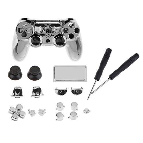 Chrome Silver Full Replacement Housing Shell Kit Für Sony PS4 Pro Controller Tasten Set All In One Zubehör Mit Schraubendreher Reparatur Tools