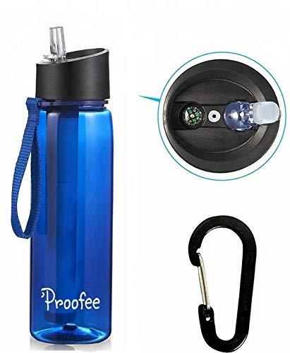 Proofee, botella de filtro de agua con popote de filtro integrado, elimina las bacterias y protozoa. Ideal para senderismo, mochileros, camping, deportes al aire libre y preparación de emergencia