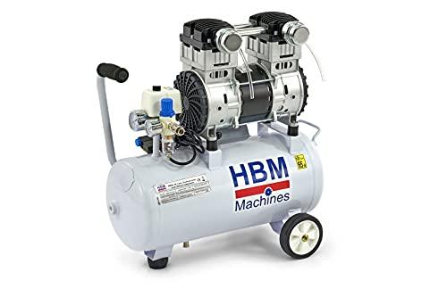 Compresor silencioso de 30 l, 1,5 CV, 1100 W, 200 l/min, 30 litros, 65 dB a 7 m, silencioso, sin aceite