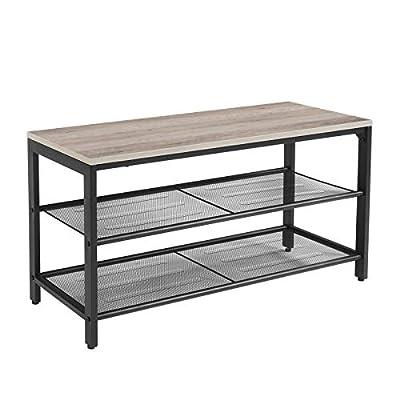 VASAGLE Shoe Bench, Shoe Rack with 2 Mesh Shelves, Shoe Storage Organizer