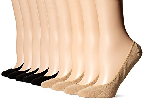 HUE Women's Classic Low Cut Liner Socks with Silicone Tab-8 Pair Pack, black/nude, One Size