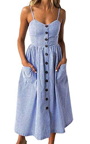 Angashion Damen V Ausschnitt Spaghetti Buegel Blumen Sommerkleid Elegant Vintage Cocktailkleid Kleider, Größe: L, Farbe: Navy Blau Streifen