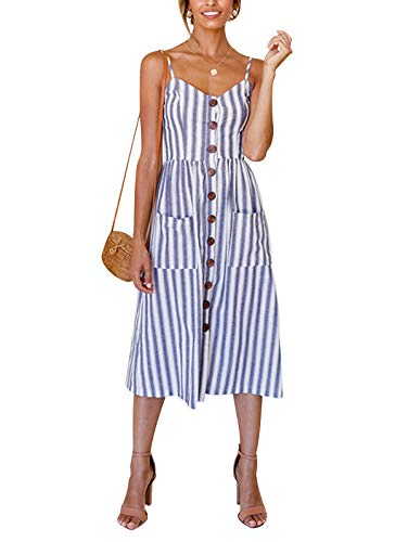 SWQZVT Women's Dress Summer Spaghetti Strap Sundress Casual Floral Midi Backless Button Up Swing Dresses with Pockets Blue Striped S