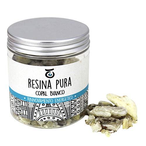 Lynpha Vitale Incienso Copal Blanco - Resina Natural 100 gr - Resina Fresca de Calidad chamánica para sublimador en Llamas - Hecho a Mano