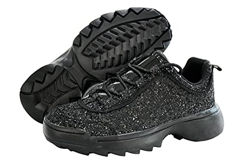LUCKY-STEP Sneakers for Women Glitter Non-Slip Outdoor Sparkled Walking Shoes - Footwear Choice (Black,8.5 B(M) US)
