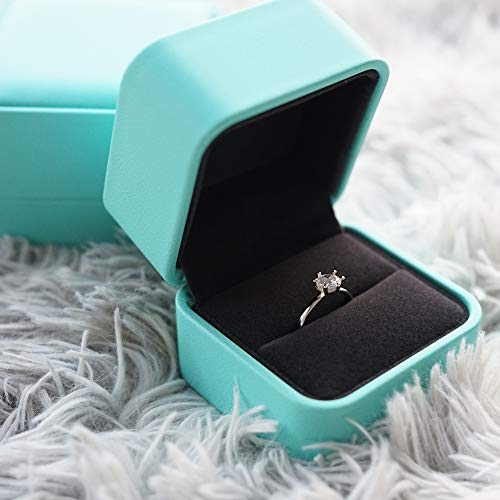 Zhenpony PU Leather Ring Box, Luxury Velvet Jewelry Ring Boxes for Proposal, Engagement, Wedding, Gifts - Jewelry Storage Case, Ring Earrings Jewelry Counter Display Props(Blue)