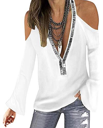 YOINS Sexy schoudervrij bovenstuk dames elegant glitter bovenstuk voor dames trui blouse bling ronde hals shirt met lange mouwen