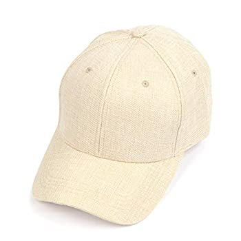 Oversize XXL Faux Linen Baseball Cap,Breathable Woven Big Dad Hat,Structured Sprots Cap for Large Heads 23.5 -25  Light Khaki