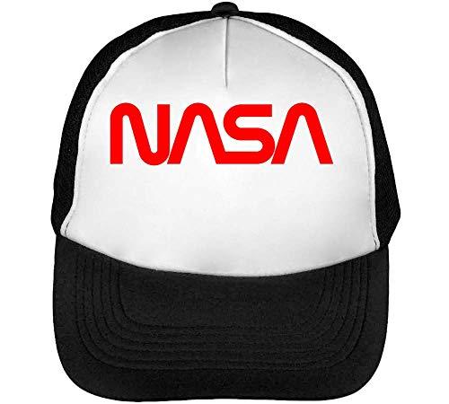 NASA New Logo Gorras Hombre Snapback Beisbol Negro Blanco One Size