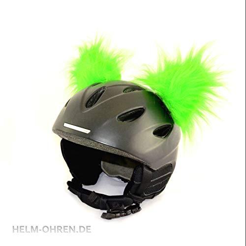 Helm-Ohren für den Skihelm, Snowboardhelm, Kinder-Helm, Kinder-Skihelm, Motorradhelm oder Fahrradhelm - verwandelt den Helm in EIN EINZELSTÜCK - für Kinder und Erwachsene HELMDEKO (Ohren: Hellgrün)