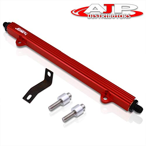 AJP Distributors Performance Upgrade Replacement JDM Sport Aluminum Turbo Fuel Injector Rail Red For Mitsubishi Eclipse Lancer Evolution 4 5 6 7 8 9 4G63 Engines 90 91 92 93 94 95 96 97 98 99 02 04 06