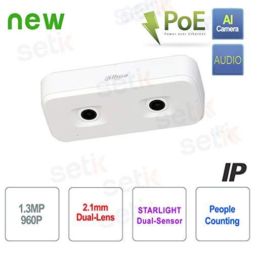 Dahua Technology – Cámara AI IP PoE 1,3 MP Dual-Lens Contador de Personas Dahua – IPC-HD4140X-3D