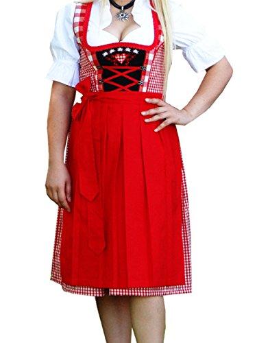 Alpenmärchen, 3tlg. Dirndl-Set - Trachtenkleid, Bluse, Schürze, Gr.42, rot, ALM1815