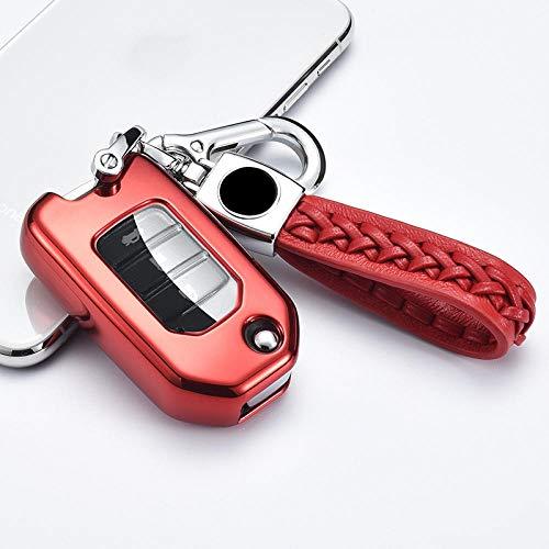 Schlüsselhülle Bunte Harte TPU Auto Smart Key Case Volle Abdeckung für Honda Civic CR-V HR-V Accord Jade Crider Odyssey 2015-2018 Autozubehör-F-roten Schlüsselbund