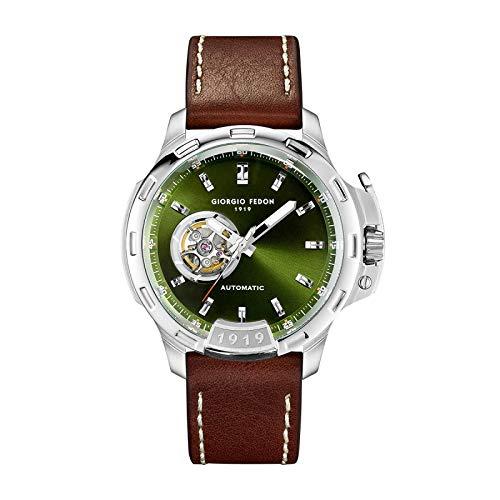 Giorgio Fedon GFBG014 - Reloj automático para hombre, color verde oliva con correa de cuero marrón