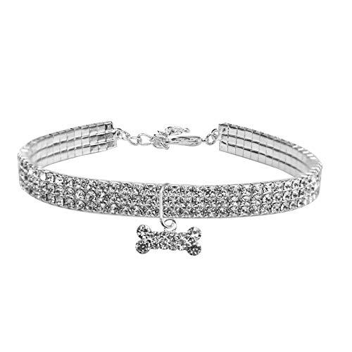 Jinlaili Collar de Perro de Mascota, Cuello de Diamantes de Imitación Elástico,Collar de Perro con Diamantes de Imitación para Mascotas Pequeñas o Medianas con Colgante en Forma de Hueso (Gran