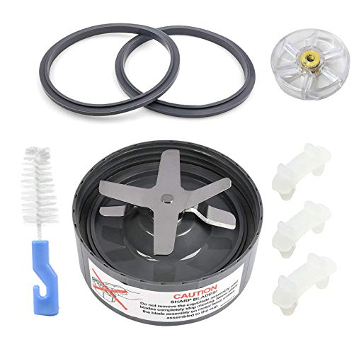 9 Pieces Blender Blade Replacement Parts for NutriBullet Extractor Blade Fit For Nutribullet Pro 900w Original 600w Juicer Series NB-101s With Silicone Rubber Gaskets, Shock Pad, Gear and Brush