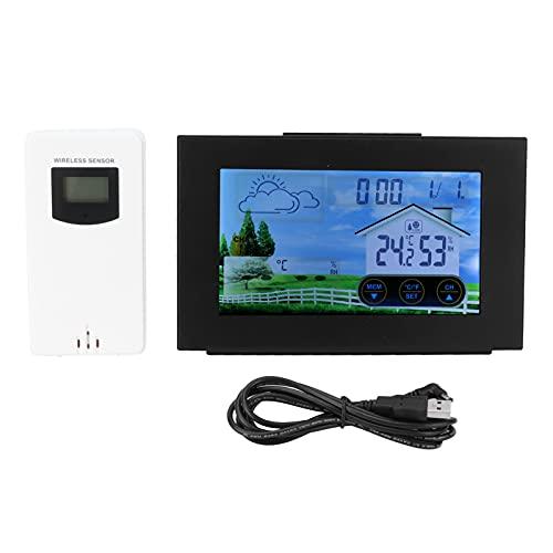 Surebuy Despertador higrómetro, Reloj multifunción de Amplio Rango de Temperatura con Pantalla táctil LCD para el hogar para Interiores y Exteriores