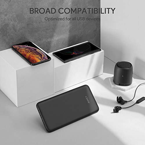 AUKEY USB C Power Bank, 20000mAh Portable Charger USB C, Slimline Type C Battery Pack with 3 Input & 4 Output Compatible with iPhone11/11Pro/XS Max/8, Nintendo Switch, Samsung Galaxy Note8, Pixel