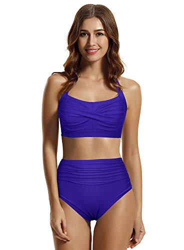 Zeraca Damen Bikini Twist High Waisted Bikini Badeanzug - Blau - 36 DE/S