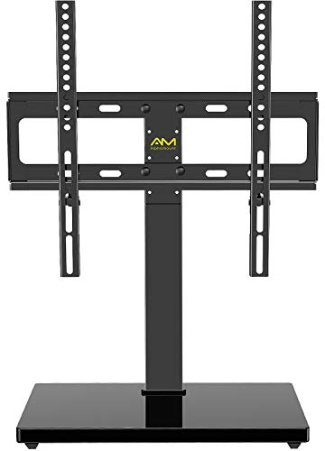 AM alphamount Universal TV Stand Swivel Tabletop TV Base Fits 26-55 Inch LED LCD OLED 4K Flat Curved TV Monitor with VESA 400x400mm Height Adjustable TV Mount Stand Rotation Hold up to 88lbs APPSTVS12