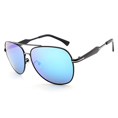 Ruanyi Polarisierte Sonnenbrille der Männer, Bunte Objektiv-Art- und Weisekühle Eyewear Retro- Oculos mit Fall (Color : Blue)