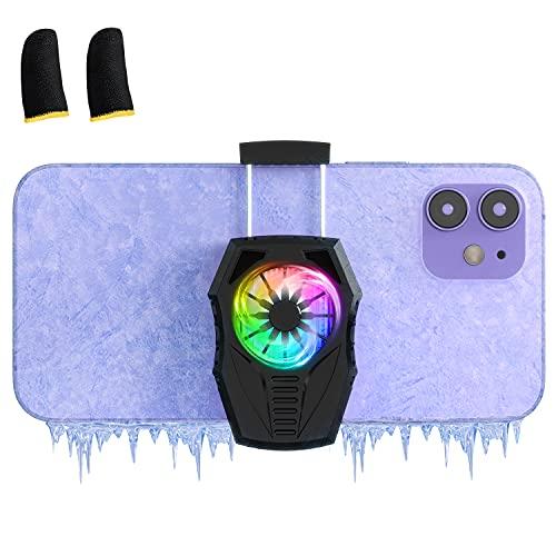 スマホクーラー AIKKI 冷却ファン 半導体 ペルチェ素子3秒急速冷却 荒野行動 FGO PUBG用 スマホ散熱器 USB給電 スマホ熱対策 伸縮クリップ式 スマートフォン冷却ファン iPhone/Android 5-7.3インチ 対応(ブラック)
